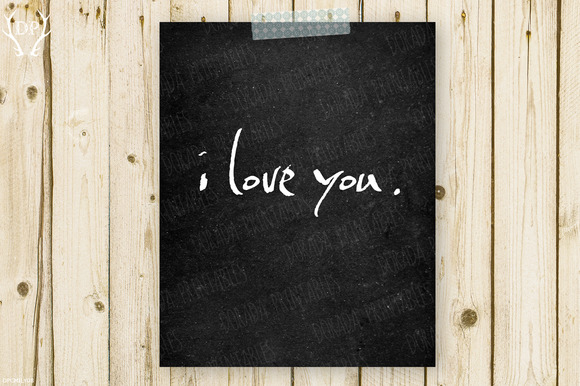 I Love You Chalkboard Print Art