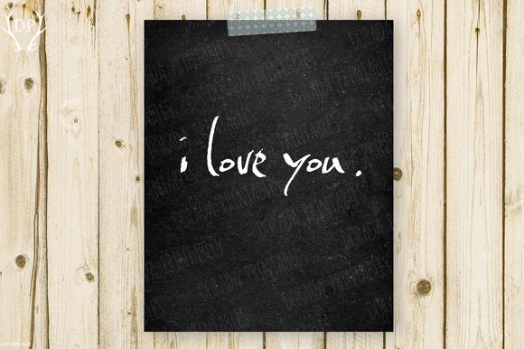 I Love You Chalkboard Print Art