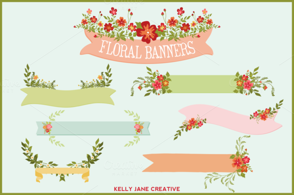 Floral Banners Ribbons Bouquets