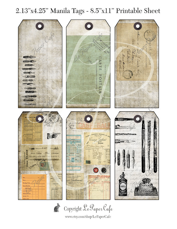 Vintage Office Printable Tags