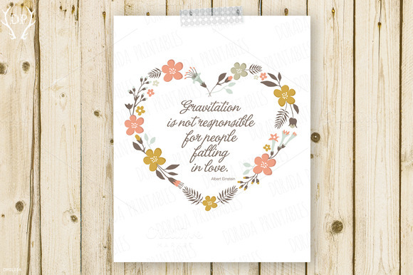 Floral Heart Wreath Quote Print