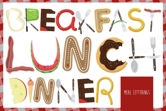 Meal Lettering Vector Set