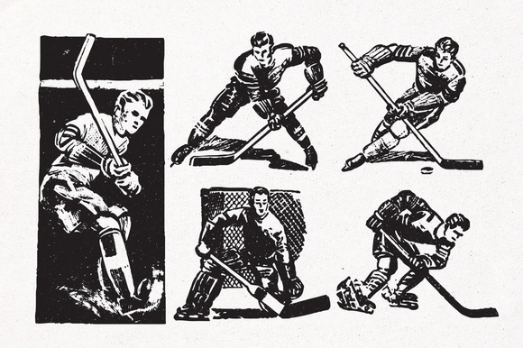 Vintage Hockey Illustrations