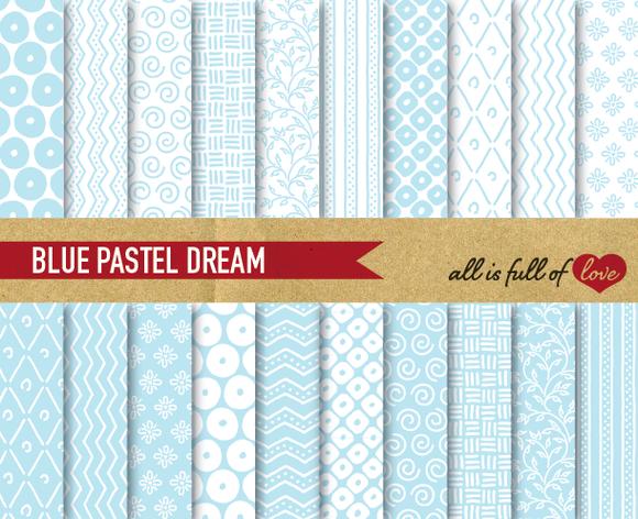 Baby Blue Digital Paper Pack
