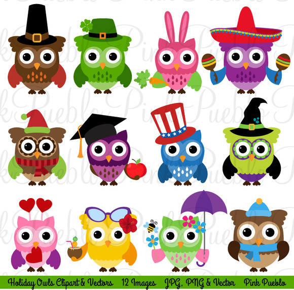 Holiday Owl Clipart And Vectors