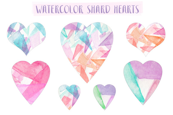 Watercolor Shard Hearts