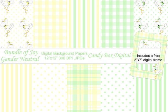 Gender Neutral Stork Digital Papers