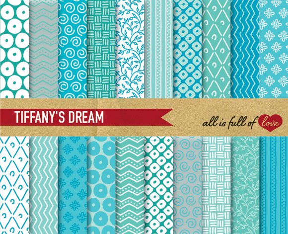 Blue Turquoise Digital Papers