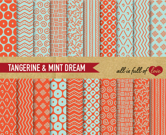 Tangerine Mint Digital Paper Pack