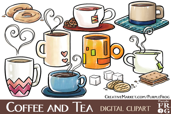 COFFEE AND TEA Digital Clipart