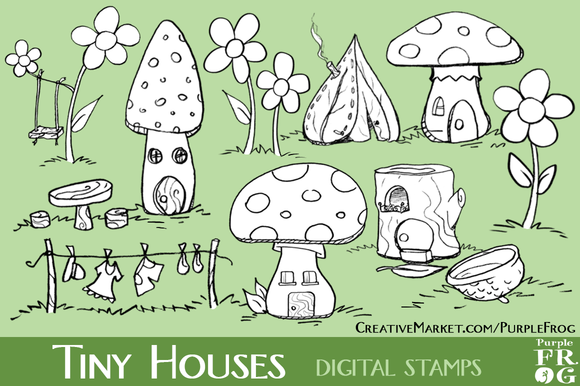 TINY HOUSES Digital Stamps