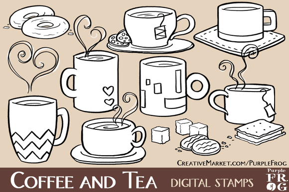 COFFEE AND TEA Digital Stamps