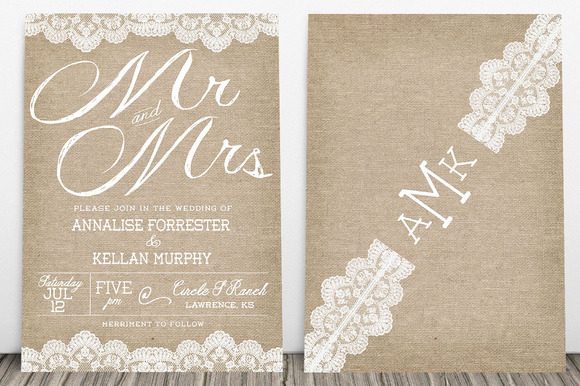 Burlap Wedding Invitation Pack