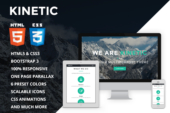 Kinetic One Page Parallax Theme