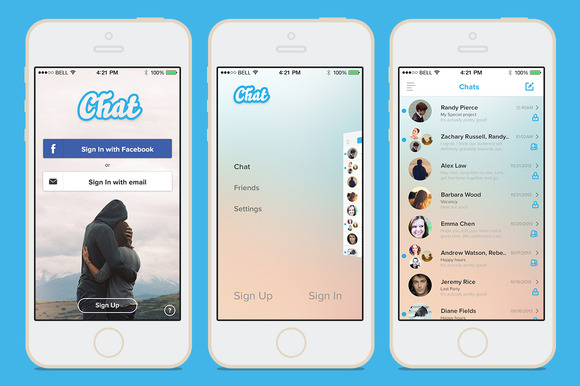 IOS 7 Chat Template PSD