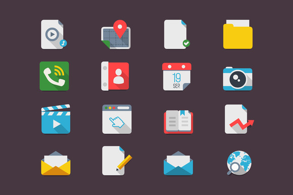 Flat Icons Smartphone Mock Up