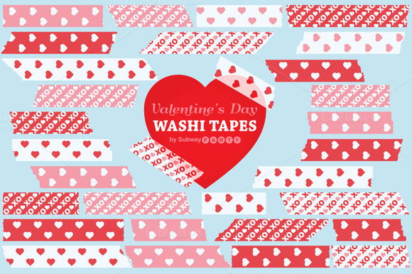 Valentine Pink Red Washi Tapes