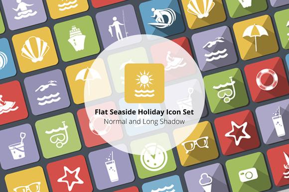 Flat Seaside Holiday Icon Set