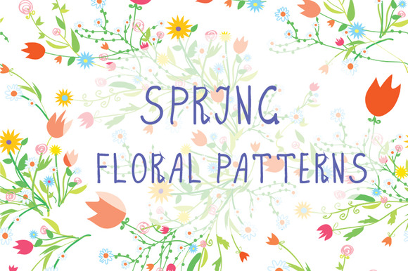 Spring Floral Seamless Patterns Set