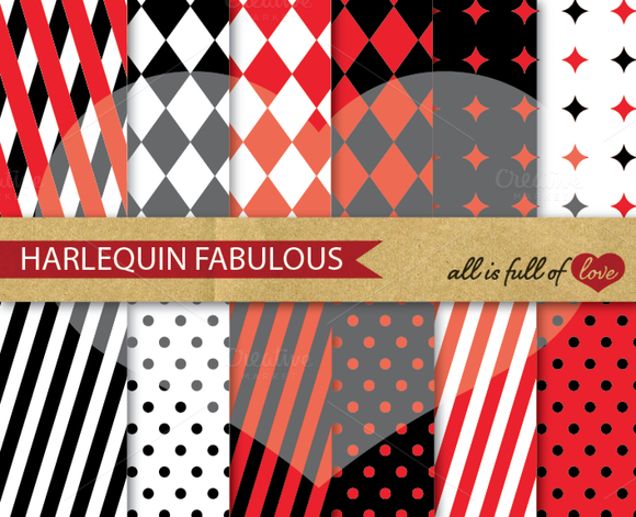 Harlequin Red Black Patterns