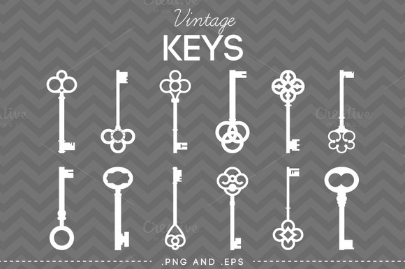 12 Vintage Skeleton Keys