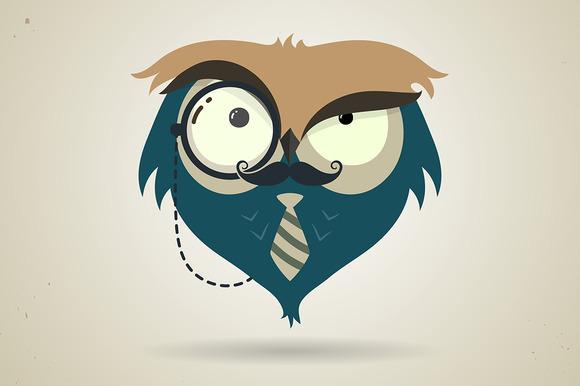 Cute Little Cartoon Hipster Owl