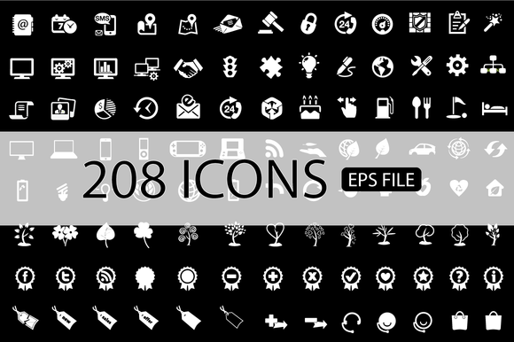 208 ICONS VECTOR SET