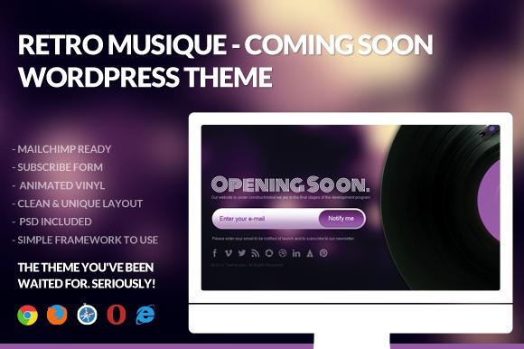 Retro Musique Coming Soon Wordpres