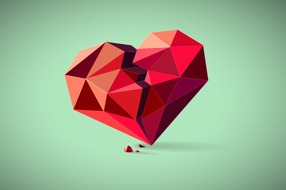 Broken Heart Consisting Of Triangles