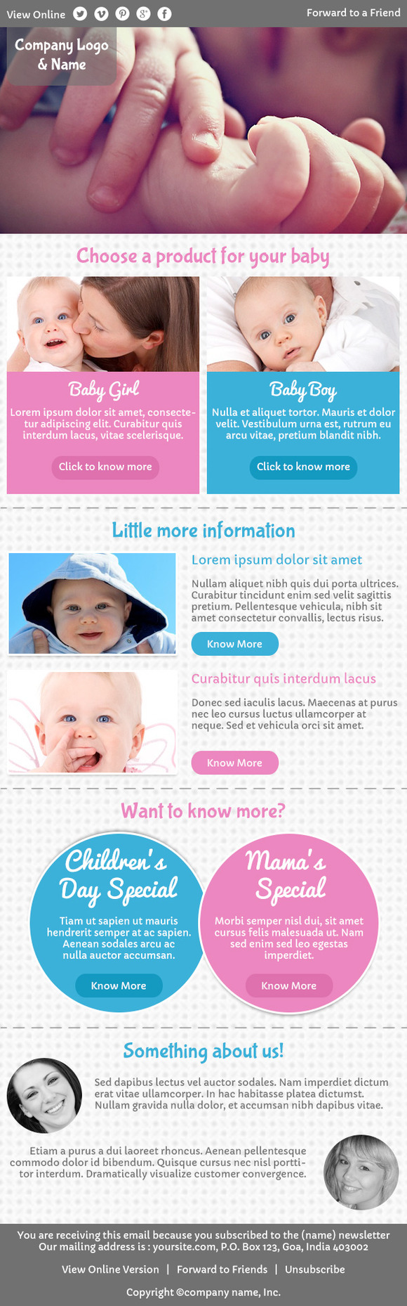Kidzy-emailer Psd For Baby Products