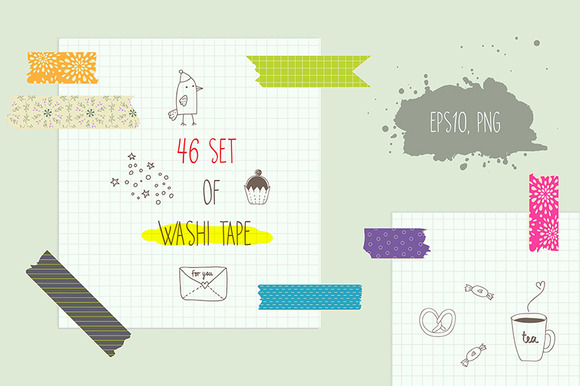 Washi Tape Clipart Vectors Set