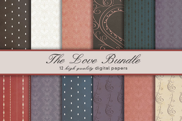 The Love Bundle 12 Digital Papers
