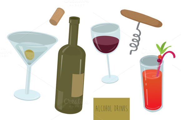 Alcohol Drinks Vector Set
