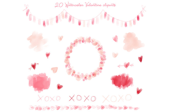 20 PNG Watercolor Valentine Clip Art