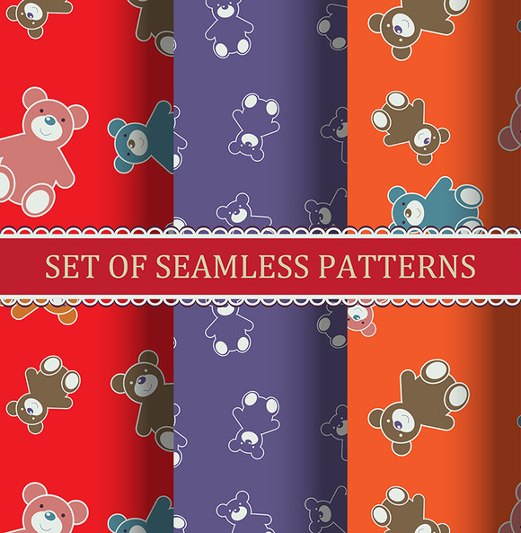 Seamless Pattern Teddy Bears