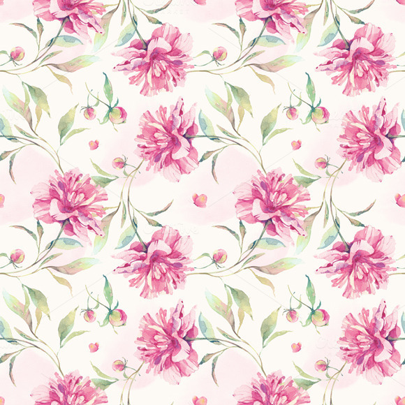 Watercolor Pattern With Peony Flower
