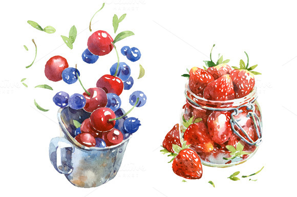 Cherry Blueberry And Strawberry
