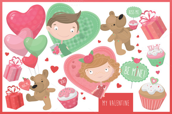 Be My Valentine Vector Set