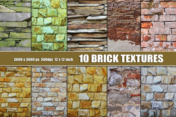 Brick Texture Backgrounds Set Of 10