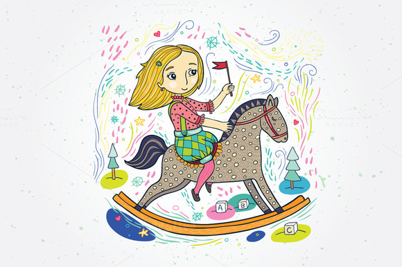 Girl On Toy Horse Color Illustration