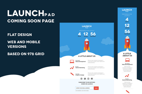 Launch Pad-Coming Soon PSD Template