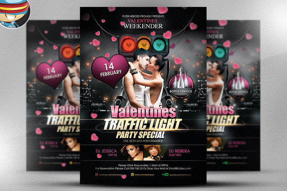 Valentine S Traffic Light Flyer PSD