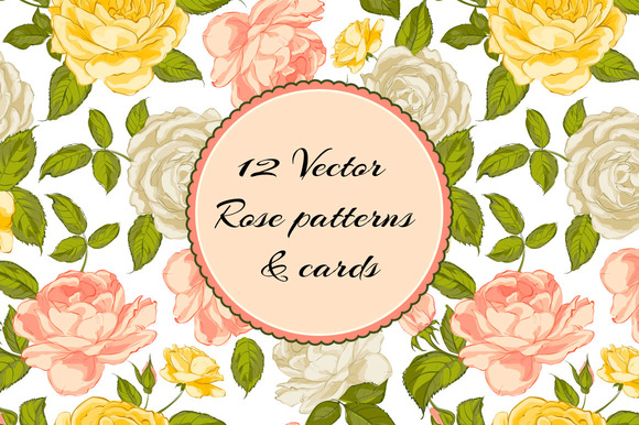12 Vintage Rose Patterns And Cards