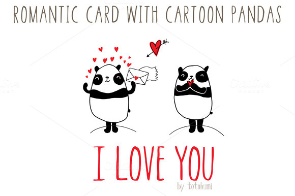 Romantic Card With Cartoon Pandas