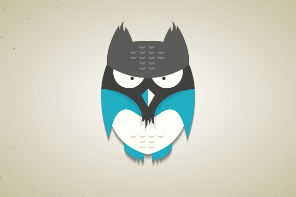 Cute Little Blue Cartoon Owl