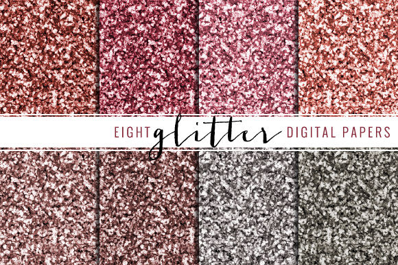 Glitter Digital Paper Red Pink