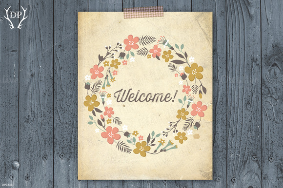Welcome Floral Rustic Wreath Art