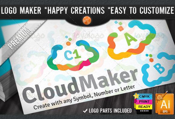 Colorful Flat Cloud Logo Maker Set