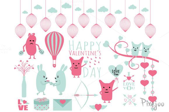 Happy Valentine S Clipart Set