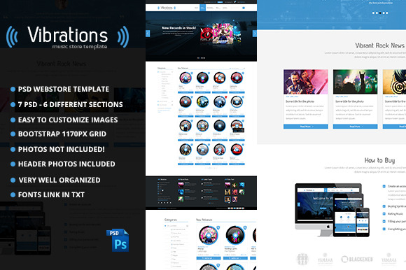 Vibrations Music Store PSD Template